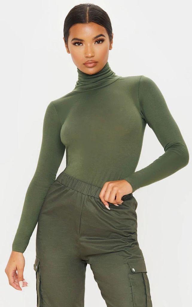 Basic Khaki Long Sleeve Roll Neck Top, Green