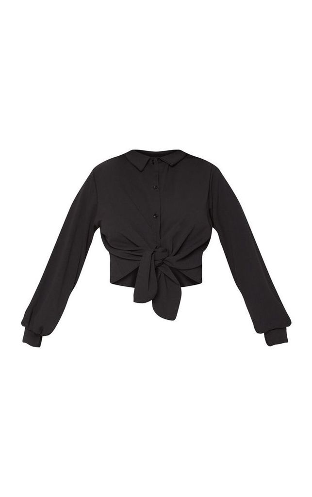 Black Crepe Tie Front Crop Shirt, Black