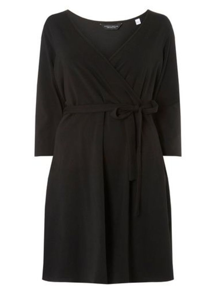 Womens **Dp Curve Black 3/4 Sleeve Wrap Dress- Black, Black
