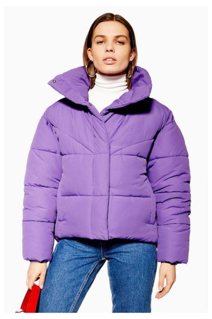 Womens Wrap Puffer Jacket - Purple, Purple