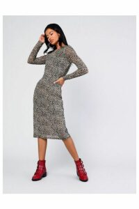 Womens **Animal Printed Midi Dress By Glamorous - Multi, Multi
