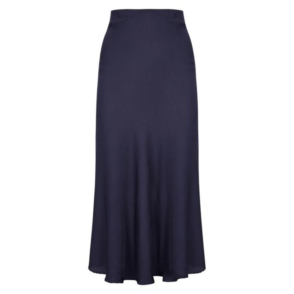 Velvet By Graham & Spencer Zelda Navy Satin Midi Skirt