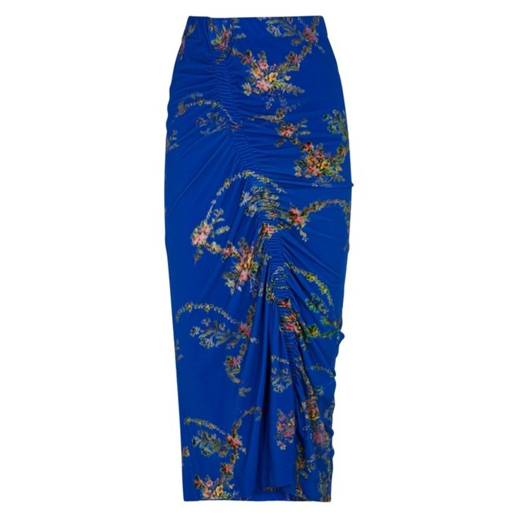 Preen By Thornton Bregazzi Tracy Blue Floral-print Skirt