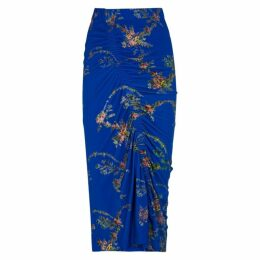 Preen By Thornton Bregazzi Tracy Blue Floral-print Skirt