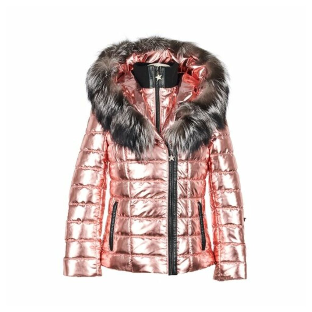 Popski London Aspen Metallic Jacket - Rose Gold