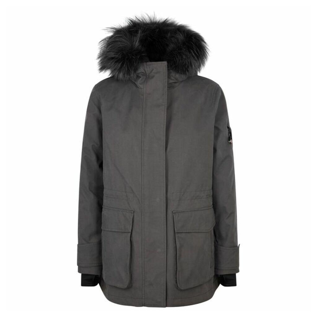 49WINTERS Charcoal Fur-trimmed Cotton-blend Parka