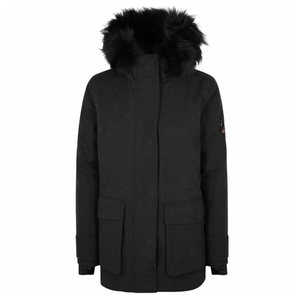 49WINTERS Black Fur-trimmed Cotton-blend Parka