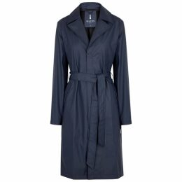 Rains Overcoat Navy Rubberised Raincoat