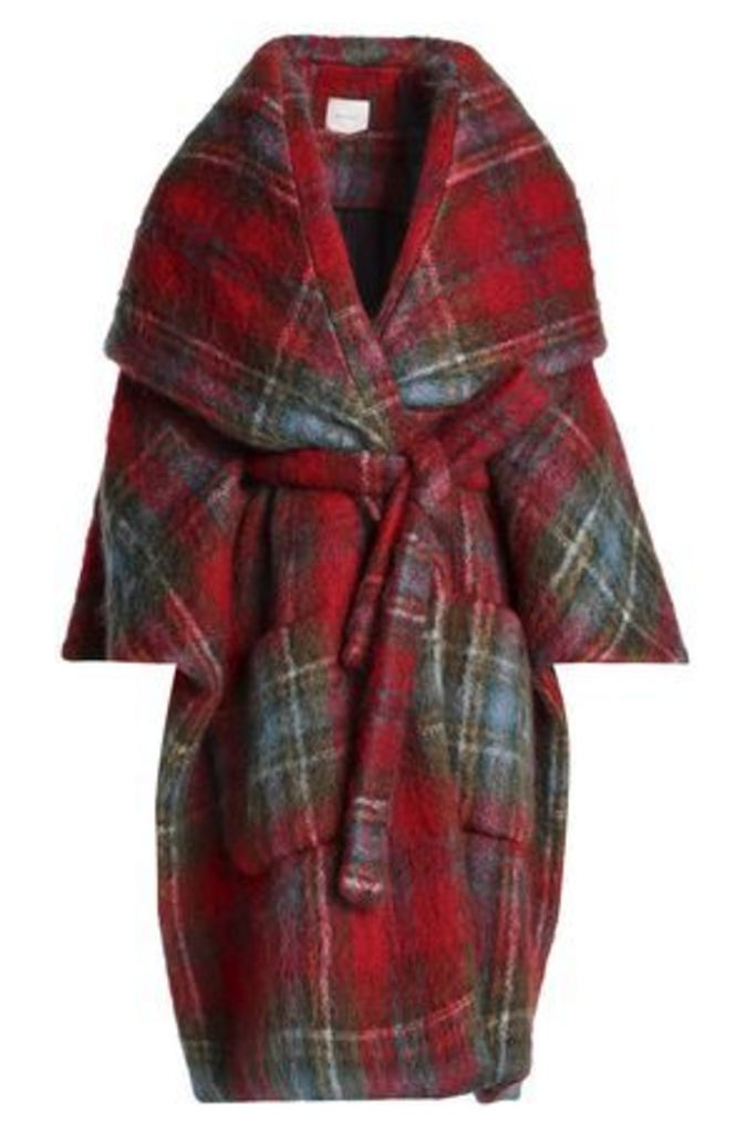 Delpozo Woman Checked Mohair-blend Cape Red Size 44