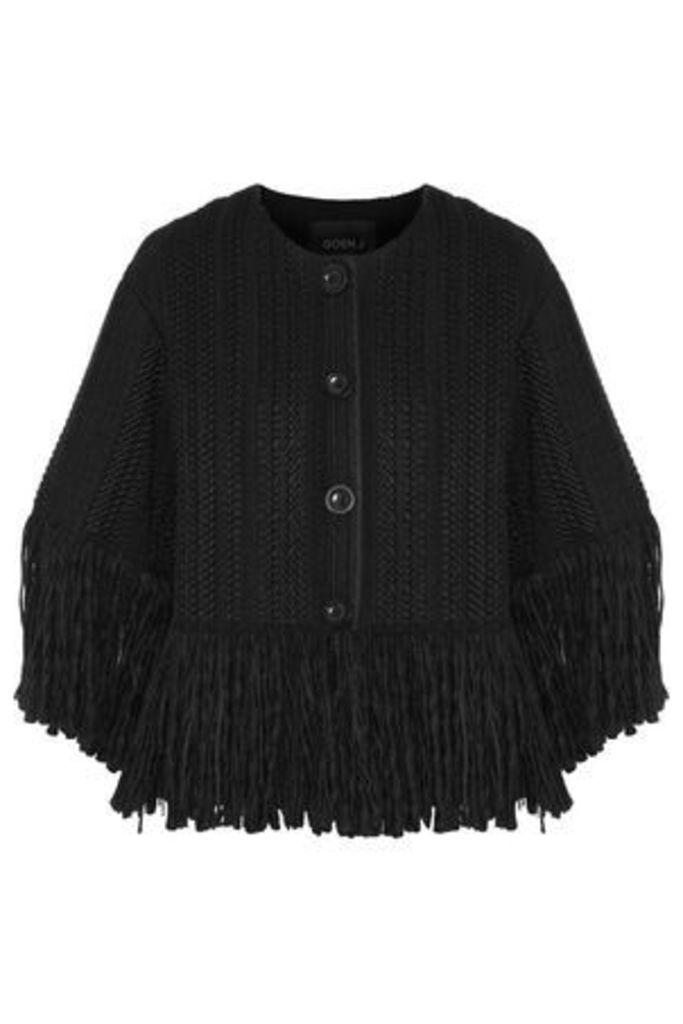 Goen.j Woman Fringe-trimmed Bouclé Jacket Black Size M