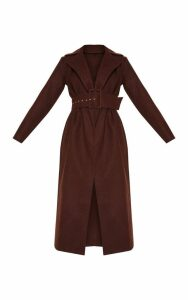 Tall Chocolate Brown Belted Coat, Chocolate Brown
