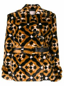 Mary Katrantzou Oates geometric pattern coat - Brown