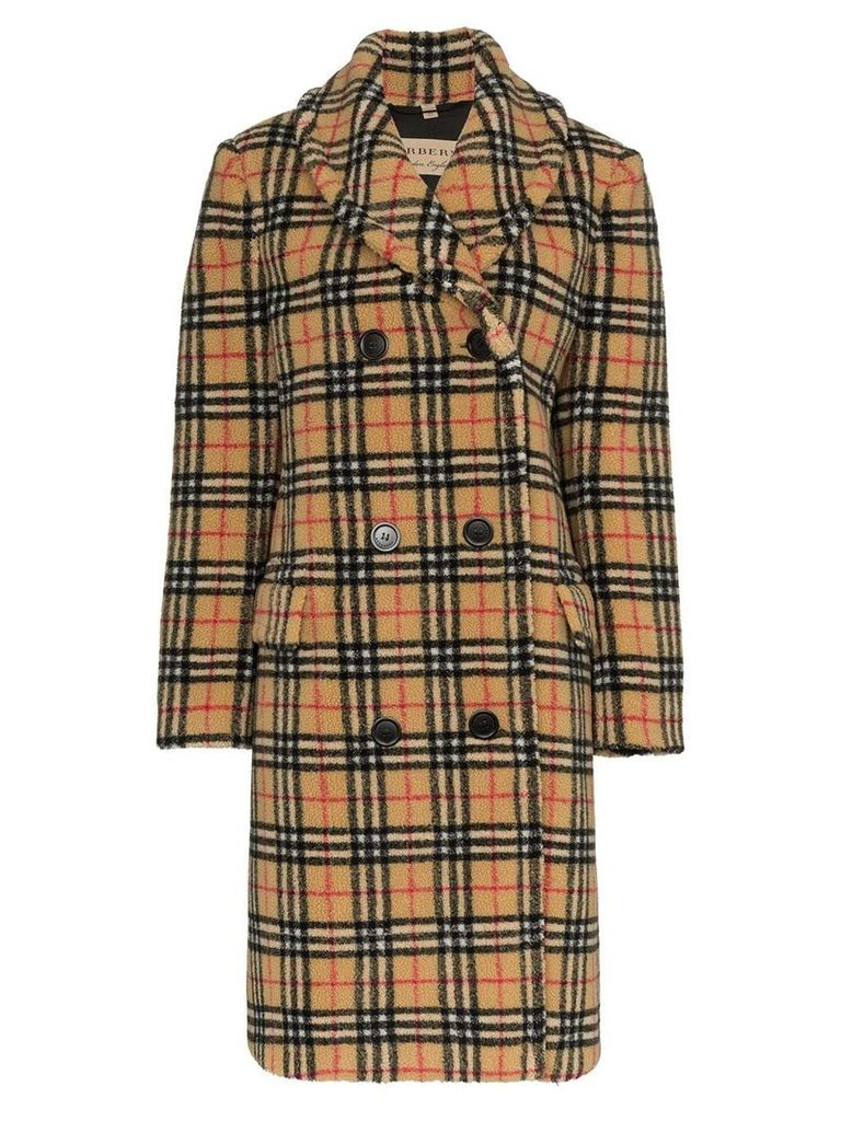 Burberry double-breasted check faux shearling coat - Black