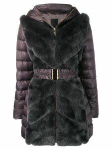 Liska rabbit fur belted coat - Grey