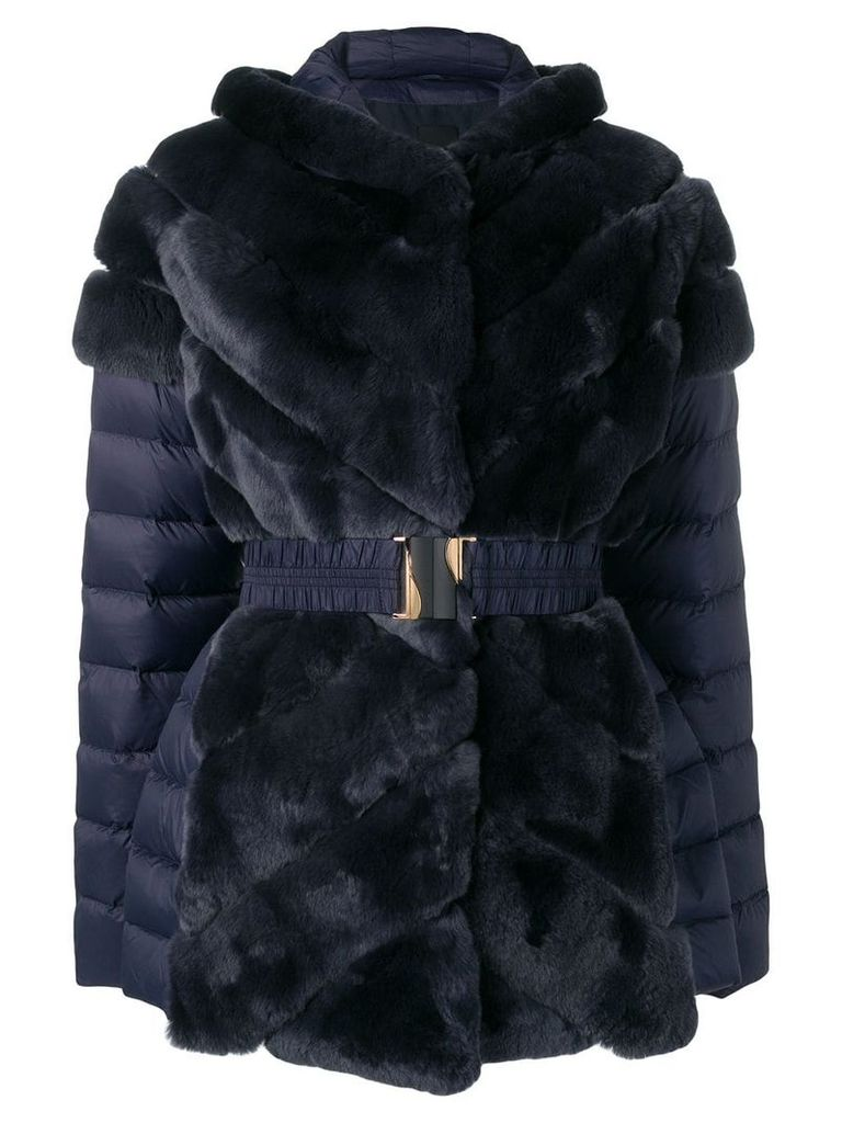 Liska rabbit fur padded belted coat - Blue