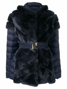 Liska rabbit fur padded belted coat - Blue