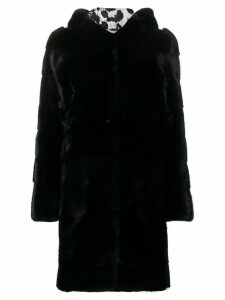 Philipp Plein fur hooded coat - Black