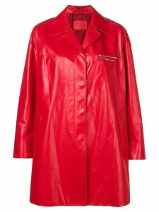 Prada zip chest pocket coat - Red