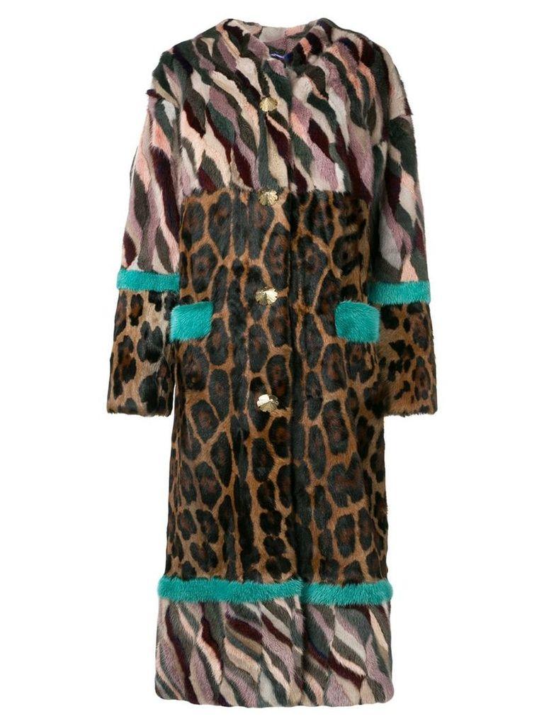 Liska panelled longline coat - Brown
