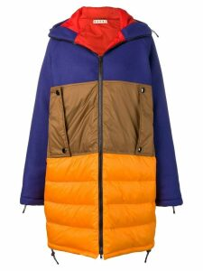 Marni colour block padded coat - Orange