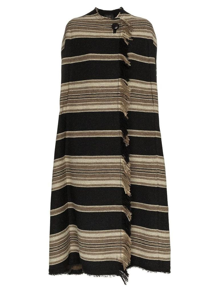 Isabel Marant huan striped wool poncho coat - Black