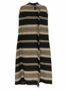 Isabel Marant huan striped wool poncho coat - Black