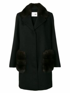 Manzoni 24 fur trimmed coat - Black