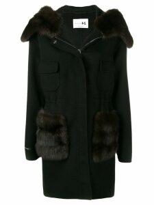 Manzoni 24 fur trimmed hooded coat - Black
