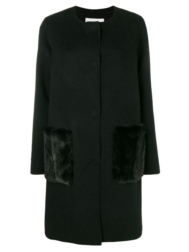 Manzoni 24 single-breasted fur detailed coat - Black