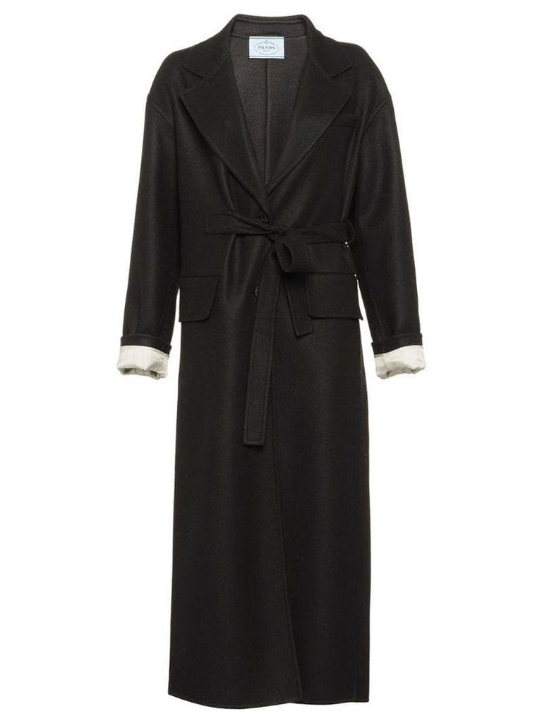 Prada belted cloth coat - Black