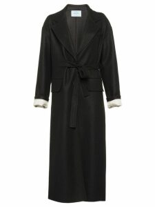 Prada belted cloth coat - Black
