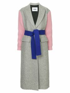 MSGM ribbed sleeve belted coat - Grey
