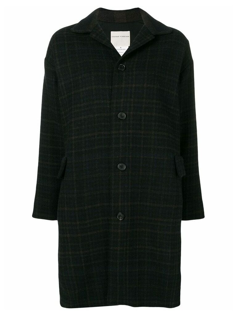 Stephan Schneider checked coat - Black