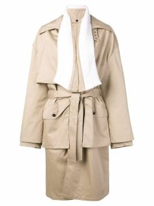 Faith Connexion ribbed lapel coat - Neutrals