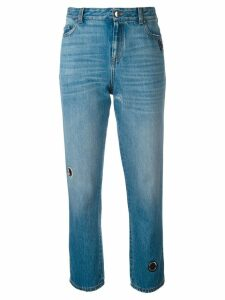 Christopher Kane vintage wash denim with eyelet detail - Blue