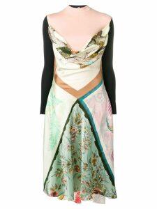 Marine Serre patchwork flared dress - Neutrals
