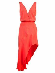 Haney asymmetric V-neck dress - Red