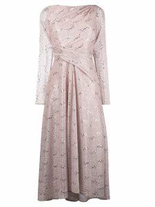 Talbot Runhof metallic flared midi dress - Pink