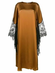 Christopher Kane lace trim satin dress - Brown