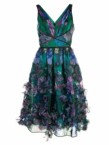 Marchesa Notte floral-appliquéd midi dress - Green