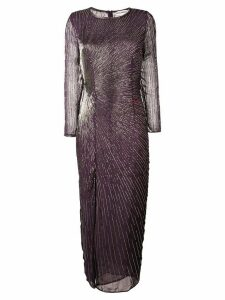 Giacobino bead embroidered slit front dress - Purple