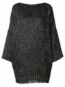 Talbot Runhof boxy fit tweed dress - 999 (Black)