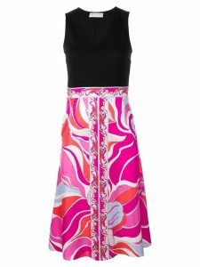 Emilio Pucci Fuchsia Rivera Print V-neck Dress - Black