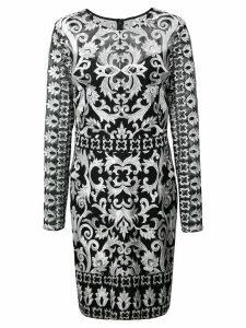 Nicole Miller short embroidered dress - Black