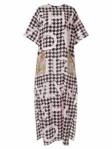 Natasha Zinko houndstooth print dress - PINK