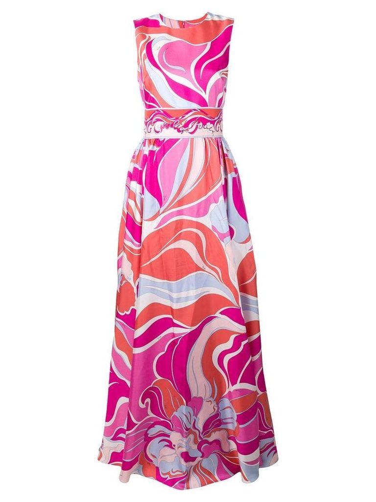 Emilio Pucci Rivera Print Silk-Twill Evening Dress - Pink