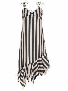 Marques'Almeida asymmetric hem striped midi dress - Black