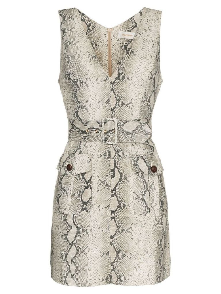 Zimmermann corsage python safari dress - Grey