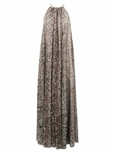 Elie Saab snakeskin print maxi dress - Neutrals