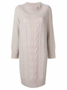 Lorena Antoniazzi cable knit sweater dress - Grey